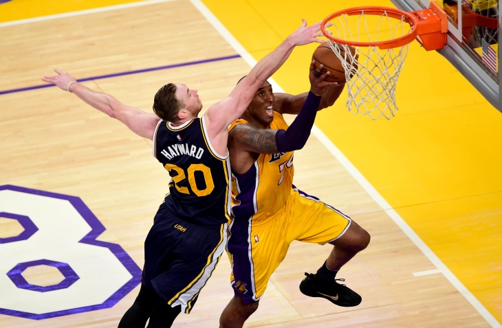 Kobe Bryant #24 of the Los Angeles Lakers reacts in the first half while taking on the Utah Jazz at Staples Center on April 13, 2016 in Los Angeles, California.