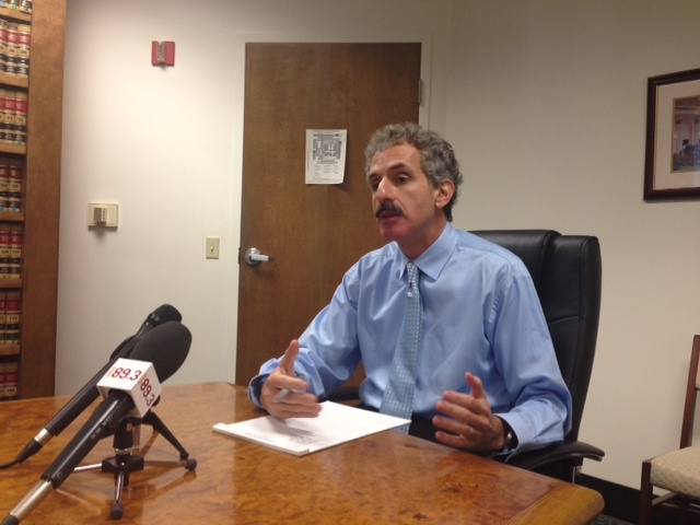 City Attorney Mike Feuer talked about efforts to clean up medical marijuana dispensaries during a morning briefing with reporters.