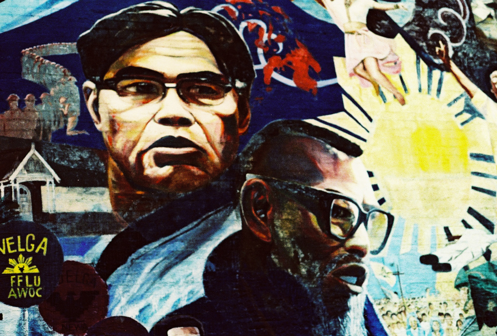 A Mural in Historic Filipino Town features Filipino labor leaders Philip Vera Cruz and Larry Itliong.