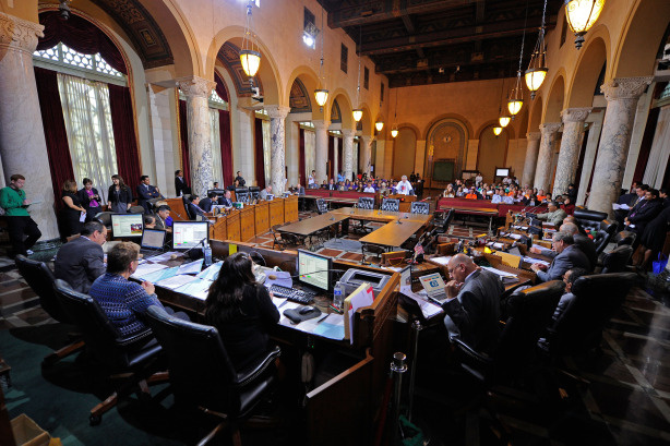 Los Angeles City Council members listen to speakers before approving an economic boycott of Arizona on May 12, 2010 in Los Angeles, California. LA hopes of pressuring the state of Arizona into repealing a tough immigration law by boycotting it's goods.