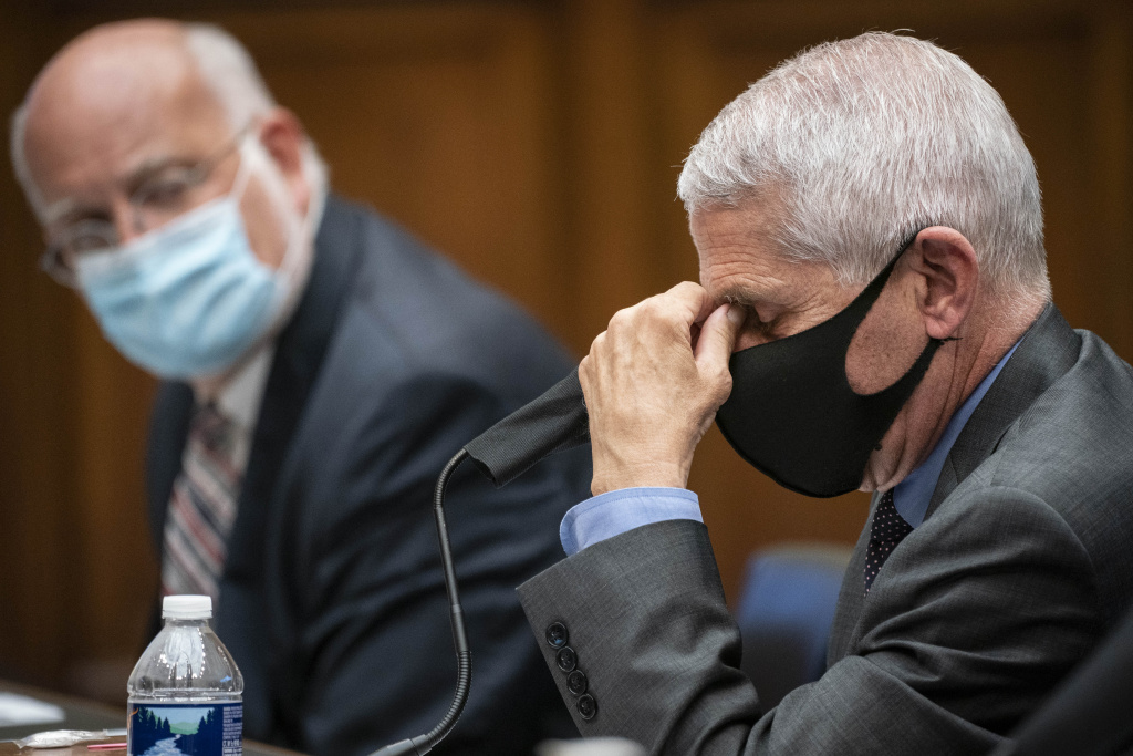 Robert Redfield, director of the Centers for Disease Control and Prevention (CDC), left, and Anthony Fauci, director of the National Institute of Allergy and Infectious Diseases, testify before a hearing of the House Committee on Energy and Commerce on Capitol Hill on June 23, 2020 in Washington, DC.