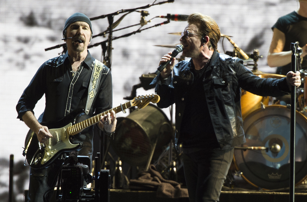 The Edge and Bono perform on Sunday, May 21, 2017 in Pasadena, Calif. (Photo by Jordan Strauss/Invision/AP)