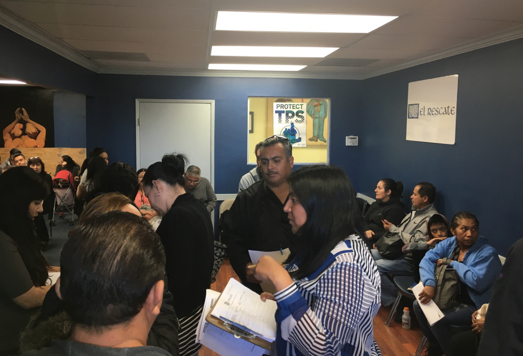 A waiting room at El Rescate, a community organization and legal clinic just outside downtown Los Angeles, is filled during a recent Saturday when legal screenings for immigrants with Temporary Protected Status. Roughly 260,000 immigrants from El Salvador were the latest to learn that their protection will end next year. Some have been in the country for decades. President Trump has also canceled TPS protection for immigrants from Haiti, Nicaragua, and Sudan.