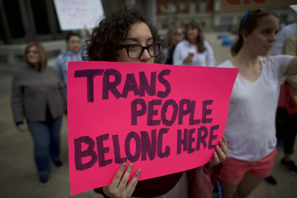 Protestors demonstrate during a rally against the transgender bathroom rights repeal on February 25, 2017 in Philadelphia, Pennsylvania.