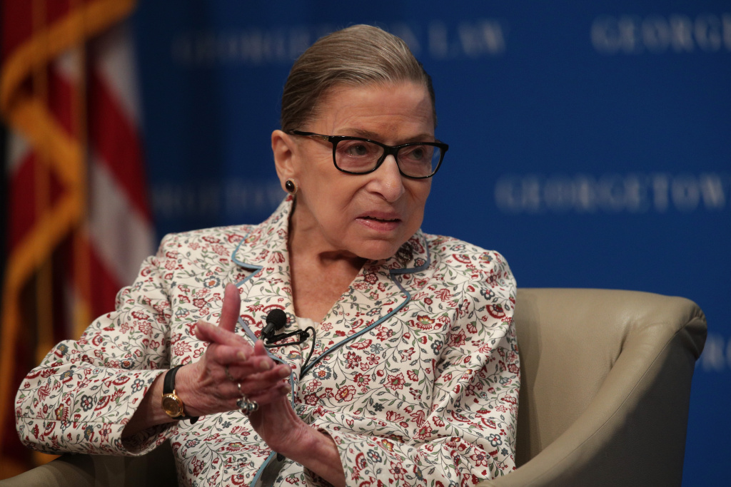 U.S. Supreme Court Associate Justice Ruth Bader Ginsburg participates in a discussion at Georgetown University Law Center.