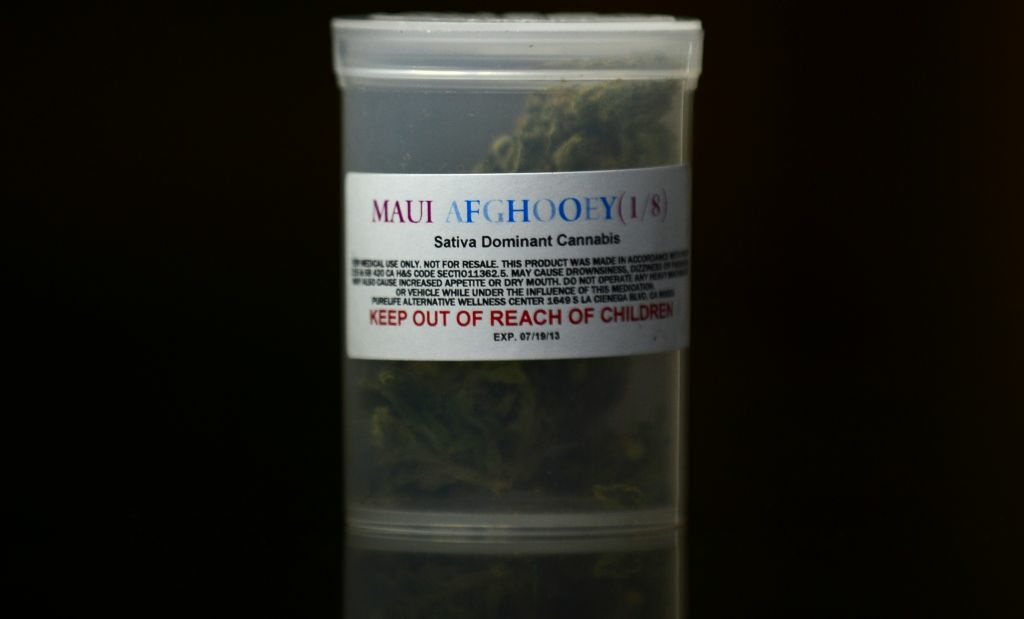 A one-eighth ounce container of Maui Afghooey medical marijuana displayed at the PureLife Alternative Wellness Center on July 27, 2012 in Los Angeles.