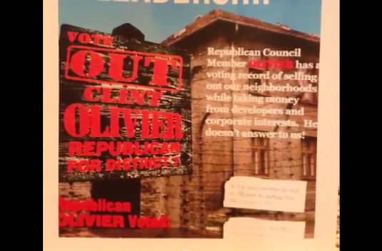 A Fresno City Council candidate is accused of using Holocaust-like imagery in a campaign flier.