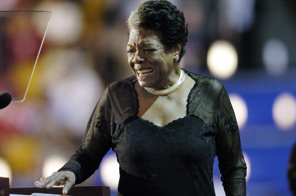 File photo: Poet and activist Maya Angelou addresses the Democratic National Convention 27 July, 2004, in Boston, Massachusetts. On Wednesday it was reported that Angelou had passed away.