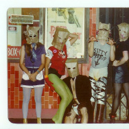 "The Bags on Hollywood Boulevard: Janet Koontz, Alice ""Douche"" Bag, Joe Nanini, Geza X and Pat ""Trash"" Bag."