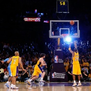 Kobe Bryant #24 of the Los Angeles Lakers shoots a free throw with 5.8 seconds left in the fourth quarter against the Denver Nuggets in Game One of the Western Conference Finals during the 2009 NBA Playoffs at Staples Center on May 19, 2009 in Los Angeles