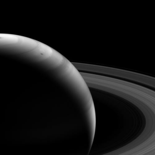 This view looks toward the sunlit side of the rings from about 18 degrees above the ringplane. The image was taken with the Cassini spacecraft wide-angle camera on Aug. 12, 2013 using a spectral filter sensitive to wavelengths of near-infrared light centered at 728 nanometers.
