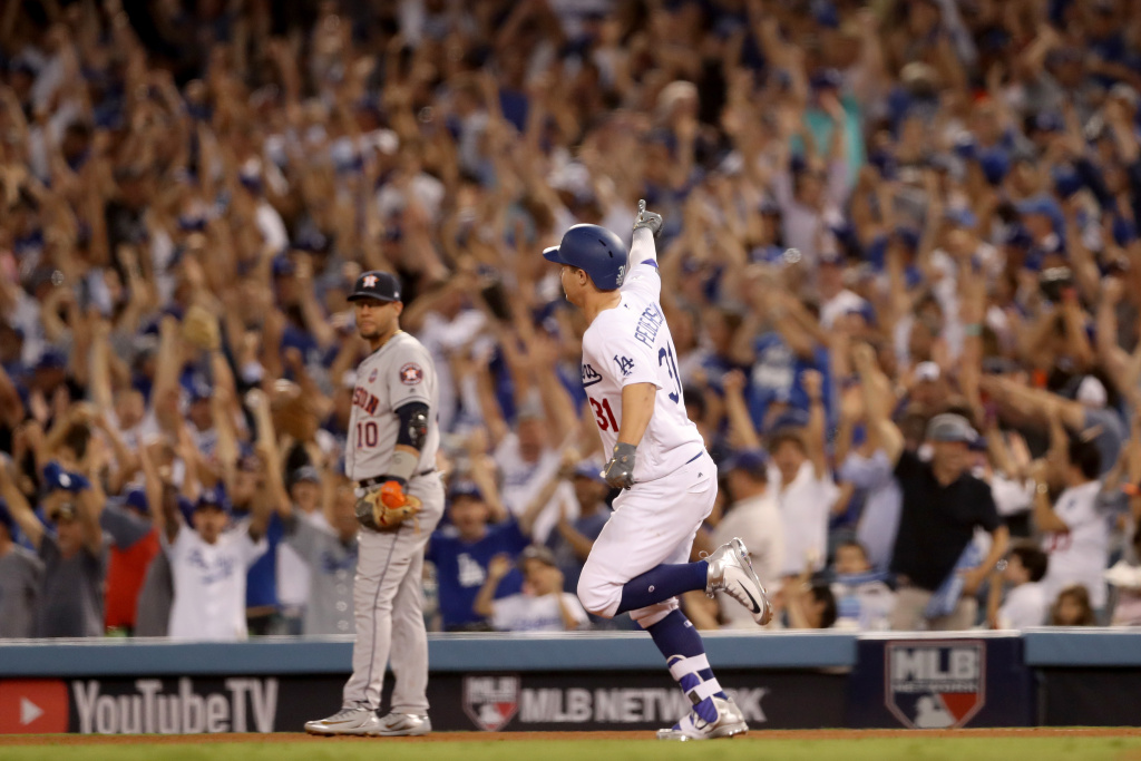 Los Angeles Dodgers' Joc Pederson runs the bases after hitting a solo home run during the fifth inning in game two of the 2017 World Series.