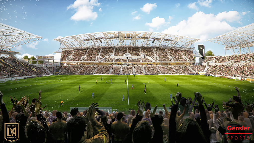 An architect's rendering of the new Banc of California Stadium, home of the Los Angeles Football Club.
