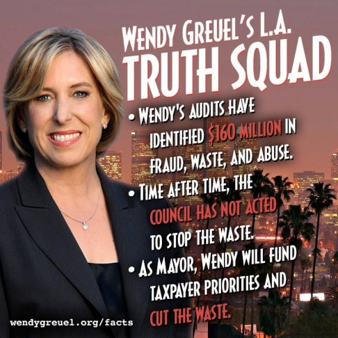With 12 days until the primary, Wendy Greuel and Eric Garcetti remain virtually tied in fundraising. At the same time, the Greuel campaign released a graphic defending her claim that as controller, she has identified $160 million in waste, fraud and abuse.