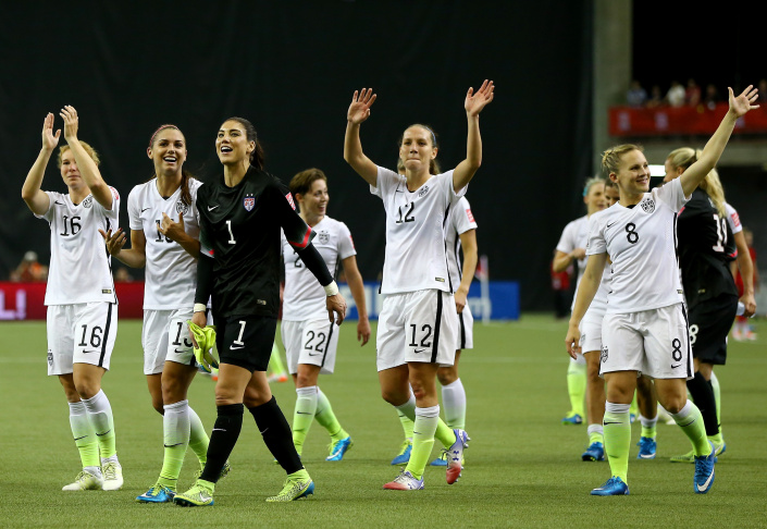 The United States celebrates victory against Germany in the FIFA Women's World Cup 2015 in Montreal, Canada.  (Photo by Elsa/Getty Images)