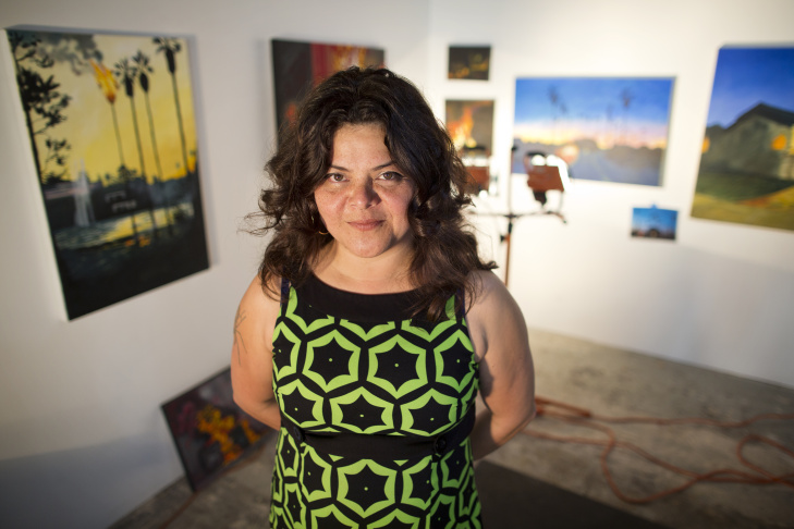 Sandy Rodriguez is an artist-in-residence at Art + Practice in Leimert Park. Rodriguez is currently working on paintings inspired by social unrest in Ferguson, Mo., Mexico City, and Los Angeles.