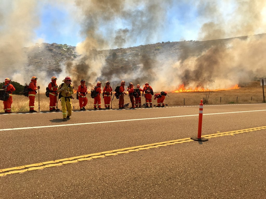 Firefighters advance on blaze southeast of San Diego