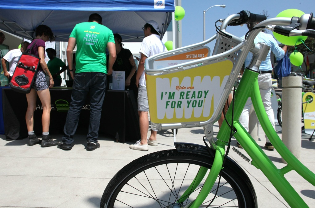 Bike-sharing launched in West Hollywood on Wednesday, joining other programs in Los Angeles County.