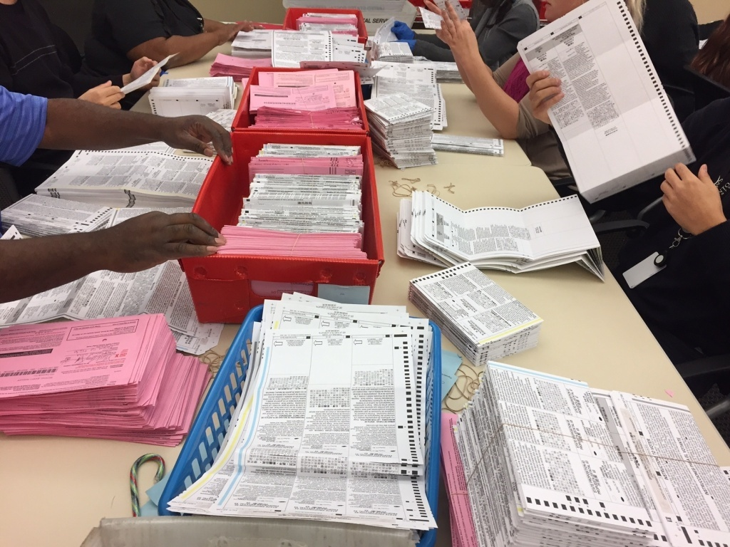 File: Election workers sort through unprocessed vote-by-mail ballots at the Sacramento County Registrar of Voters office on Monday.