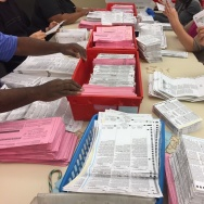 Election workers sort through unprocessed vote-by-mail ballots at the Sacramento County Registrar of Voters office on Monday.
