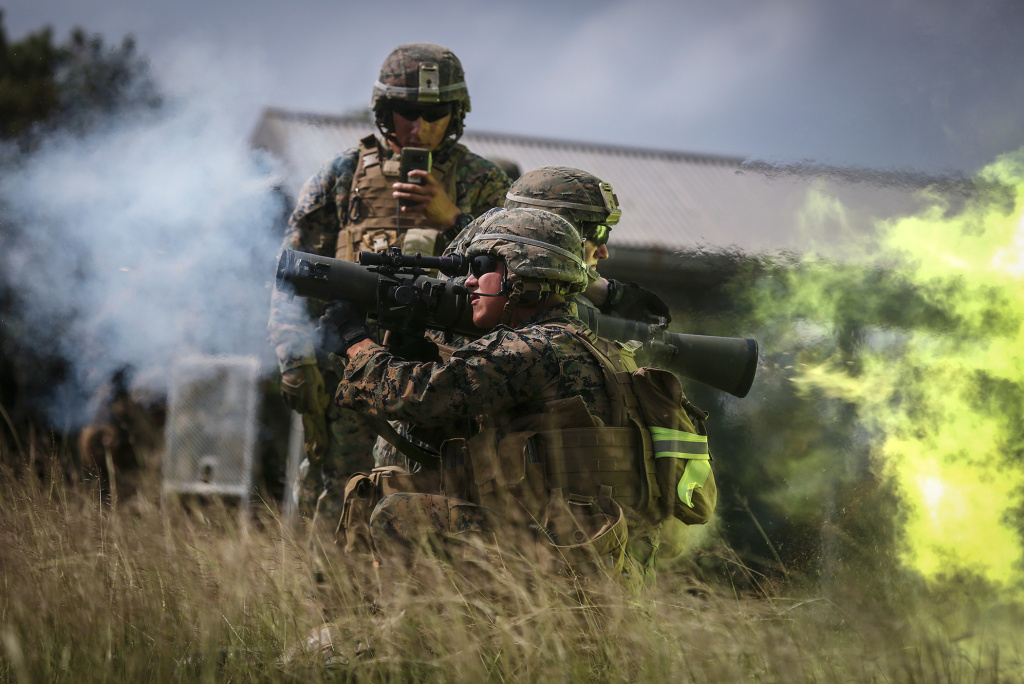 U.S. Marines fire the Carl Gustav rocket system during live-fire training in October 2017. With each firing, the shooter's brain is exposed to pulses of high pressure air emanating from the explosion that travel faster than the speed of sound.