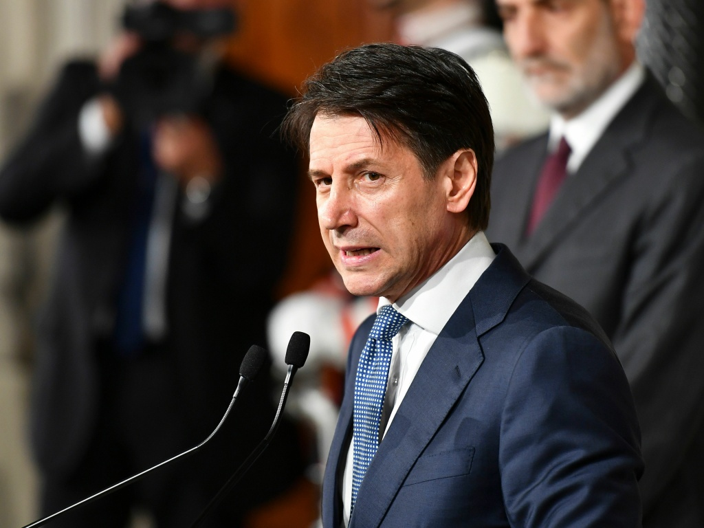 Giuseppe Conte addresses the media after a meeting Wednesday with Italian President Sergio Mattarella at the presidential palace in Rome. Mattarella approved the lawyer's nomination to serve as prime minister.