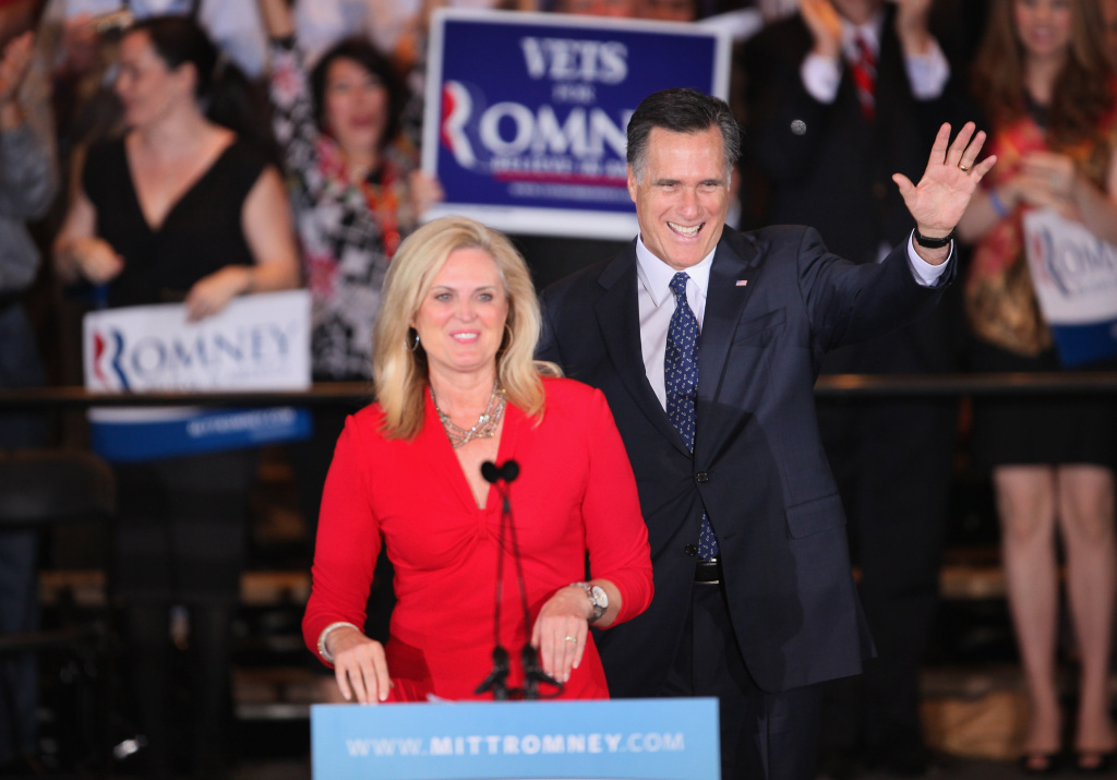 Republican Presidential candidate Mitt Romney and his wife Ann greet supporters at the at a victory party following the close of voting for the Illinois primary on March 20, 2012 in Schaumburg, Illinois. Ann will be giving a speech tonight at the Republican National Convention in Tampa, Florida.