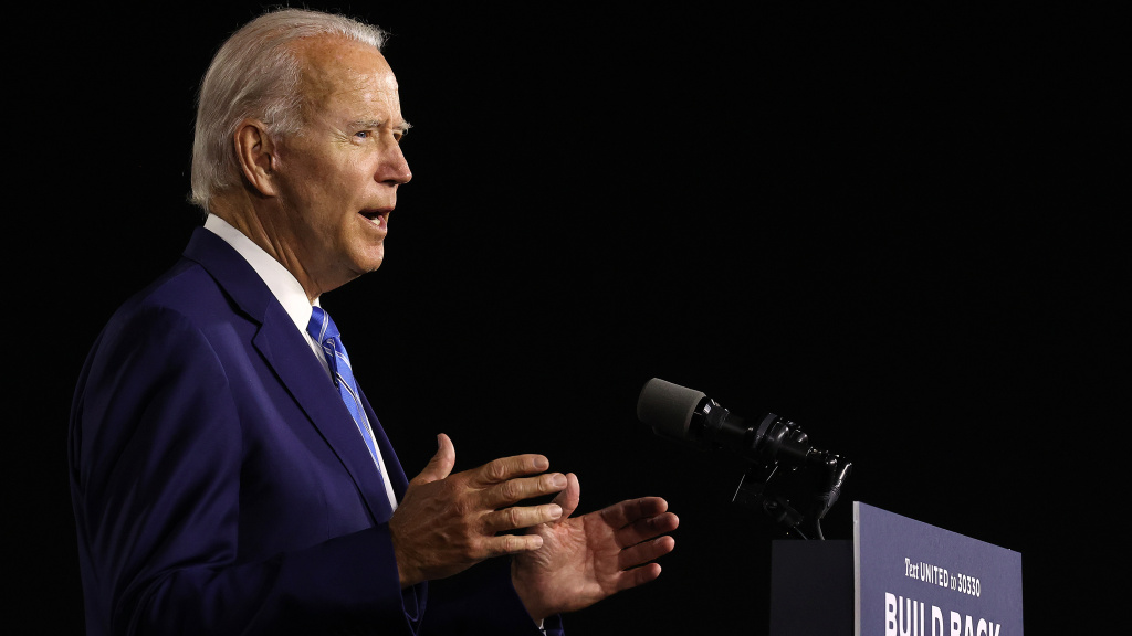 Presumptive Democratic presidential nominee Joe Biden details his $2 trillion climate proposal at the Chase Center Tuesday in Wilmington, Del.