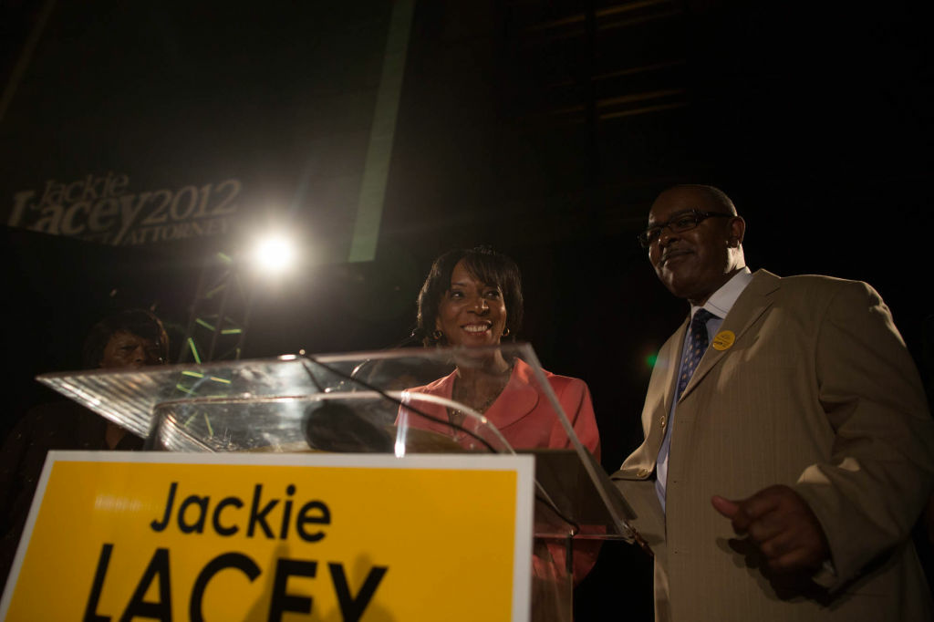 Jackie Lacey speaks to supporters on election night after winning the Los Angeles District Attorney race.