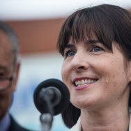 CEO of the Democratic National Convention (DNC), Amy Dacey, speaks at a  press conference pitching the borough of Brooklyn to host the 2016 Democratic National Convention (DNC).