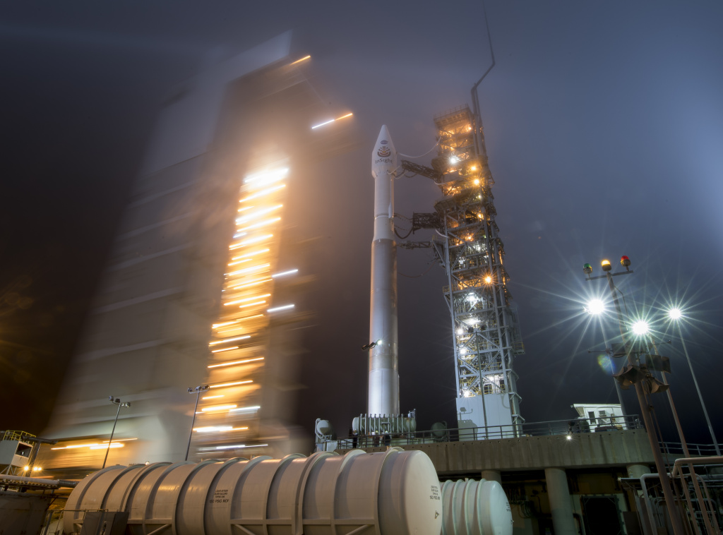 In this handout provided by NASA, the mobile service tower at SLC-3 is rolled back to reveal the United Launch Alliance (ULA) Atlas-V rocket with the NASA InSight spacecraft onboard on Friday May 4, 2018, at Vandenberg Air Force Base in California.