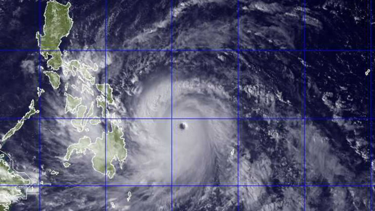 Typhoon Haiyan, seen here in a NEXSAT satellite image from this morning, is packing sustained winds of 190 mph as it heads towards the Philippines.