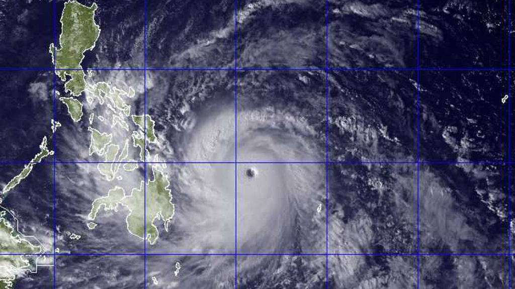 Typhoon Haiyan, seen here in a NEXSAT satellite image, packed sustained winds of 190 mph as it headed towards the Philippines.