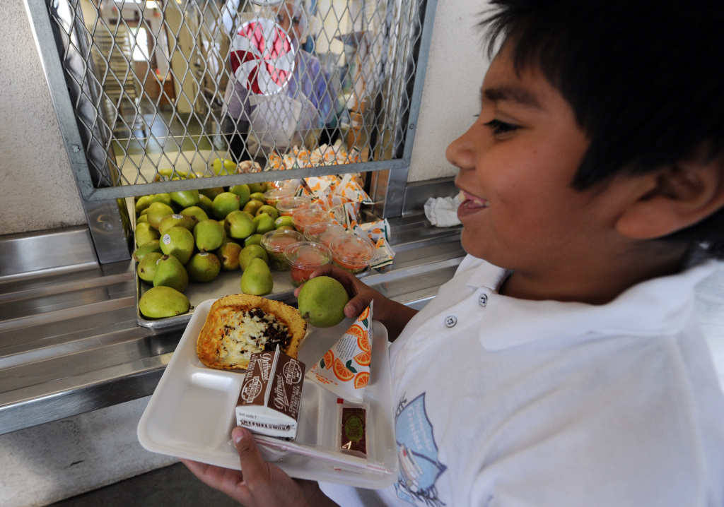 A cafeteria worker supervises lunches for school children at the Normandie Avenue Elementary School in South Central Los Angeles on December 2, 2010.