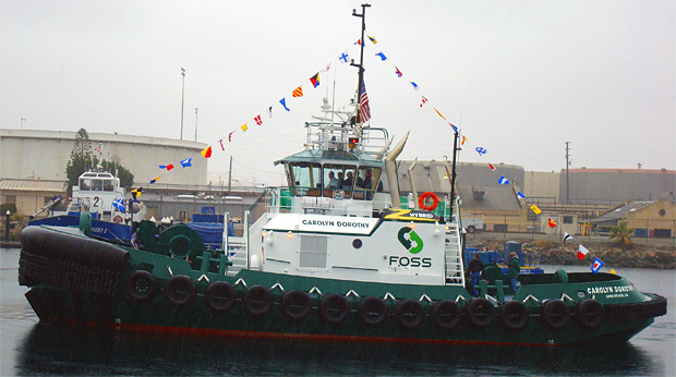 The hybrid tugboat Carolyn Dorothy as it moves about San Pedro harbor.