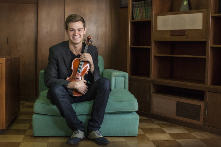 Colburn School student Blake Pouliot will be the soloist for Tchaikovsky's Violin Concerto under the baton of Sir Neville Marriner.