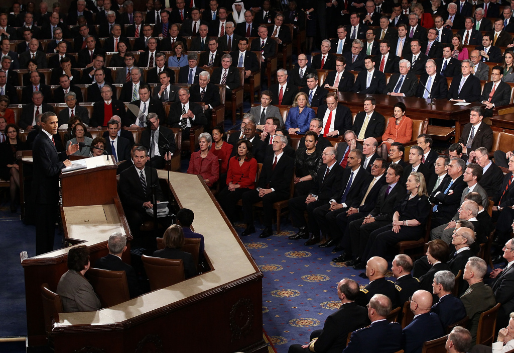 U.S. President Barack Obama delivers his State of the Union address on January 24, 2012 in Washington, DC.