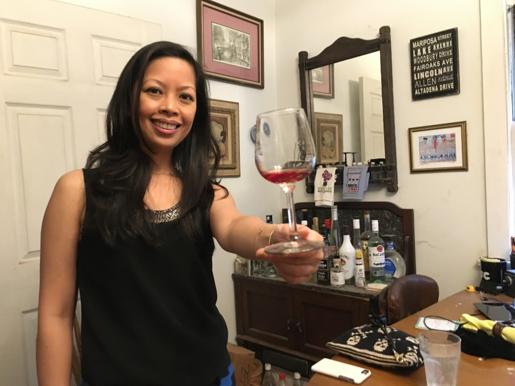Rachel Macalisang, lead sommelier at the Beverly Hills foodie-haven The Bazaar by José Andrés, tries a wine made from the Olvera Street grapes.