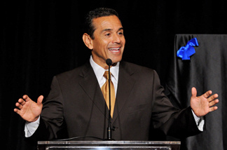 Los Angeles Mayor Antonio Villaraigosa speaks at a press conference to announce the 'Visit Hollywood 2010' campaign at the Universal Hilton Hotel on April 1, 2010.