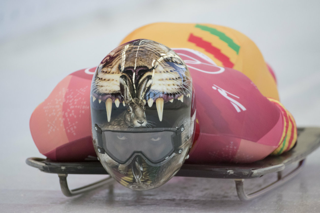 Akwasi Frimpong, Ghana's first skeleton athlete, prepares for the start of his run in the men's event at the 2018 Pyeongchang Winter Olympics.