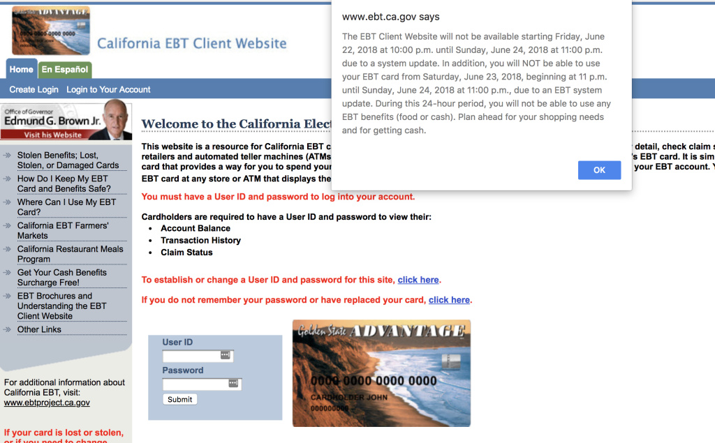 A warning to EBT users appears on the state's website ahead of a planned outage the weekend of June 23rd.