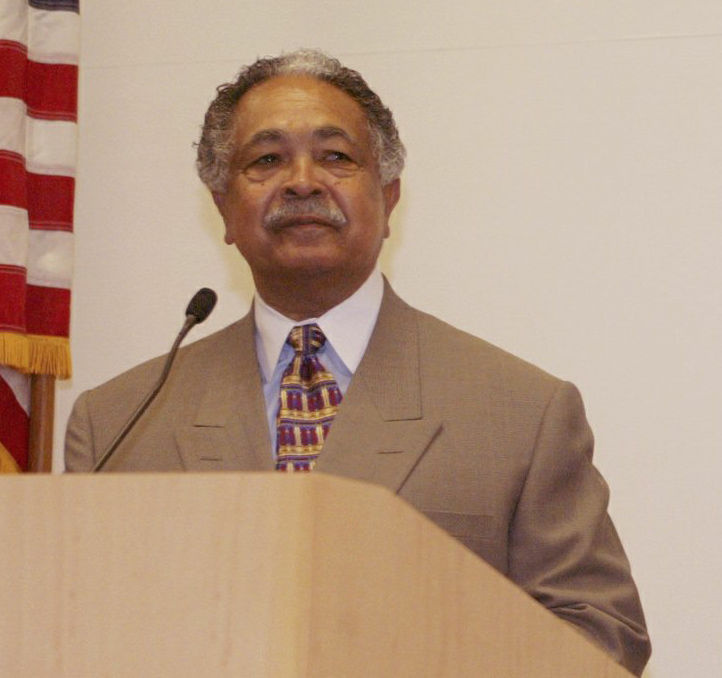 Assemblyman Mervyn Dymally during an appearance at California State University, Dominguez Hills, Thursday, Aug. 14, 2003, at the campus in Carson, Calif.