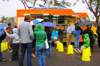 Food trucks at KPCC's food truck event in the Crawford Family Forum, Tuesday, October 5, 2010.