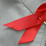 A red ribbon is one of the symbols of World Aids Day