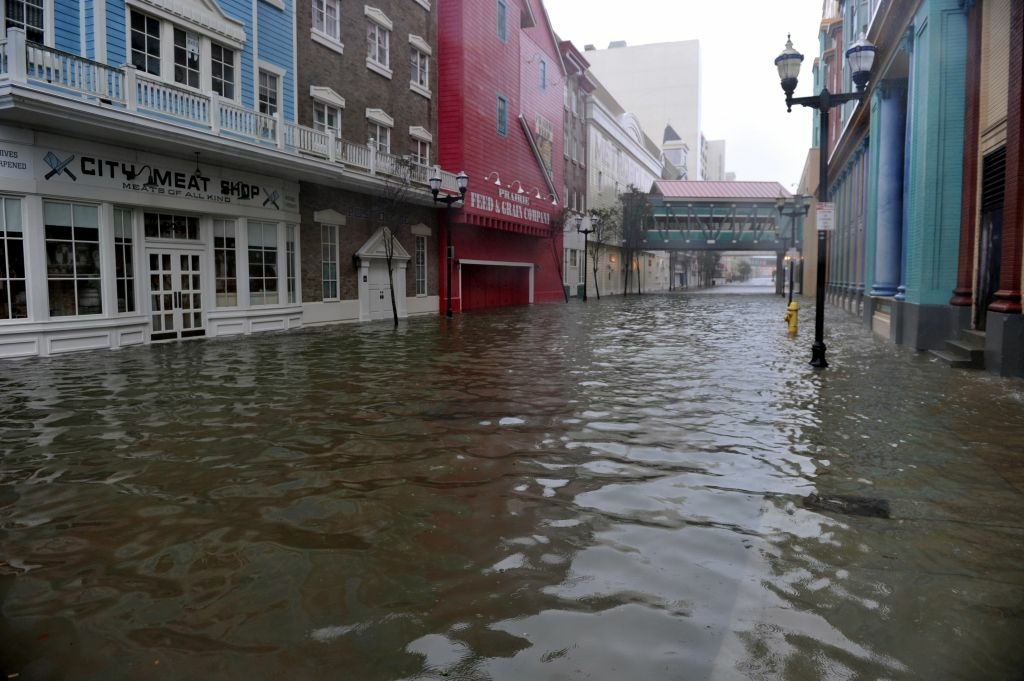 A flooded street between two casinos along the Atlantic City Boardwalk before the arrival of Hurricane Sandy.