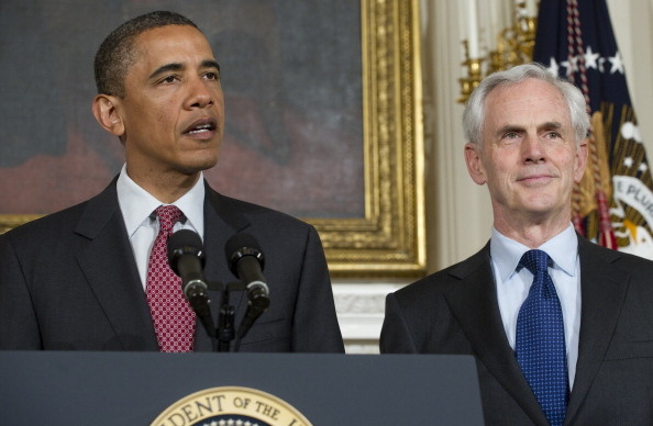 President Barack Obama names John Bryson (R) as his nominee for Secretary of Commerce during the announcement in the State Dining Room of the White House in D.C. May 31, 2011.