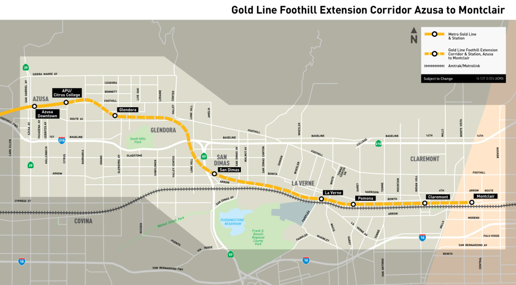 A map of the planned route that runs between Azusa and Montclair.