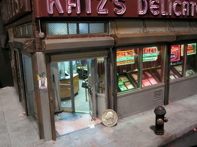 Alan Wolfson's detailed, tiny rendering of Katz's Deli ... note the real quarter for scale.