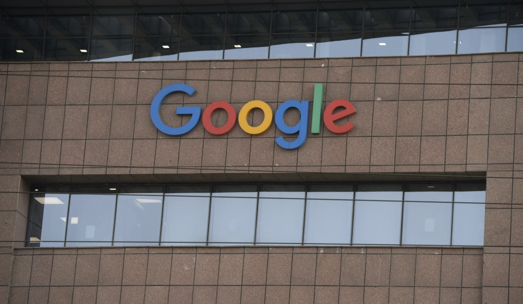 The Google logo is pictured on the side of the Google India office building in Hyderabad on March 23, 2018.