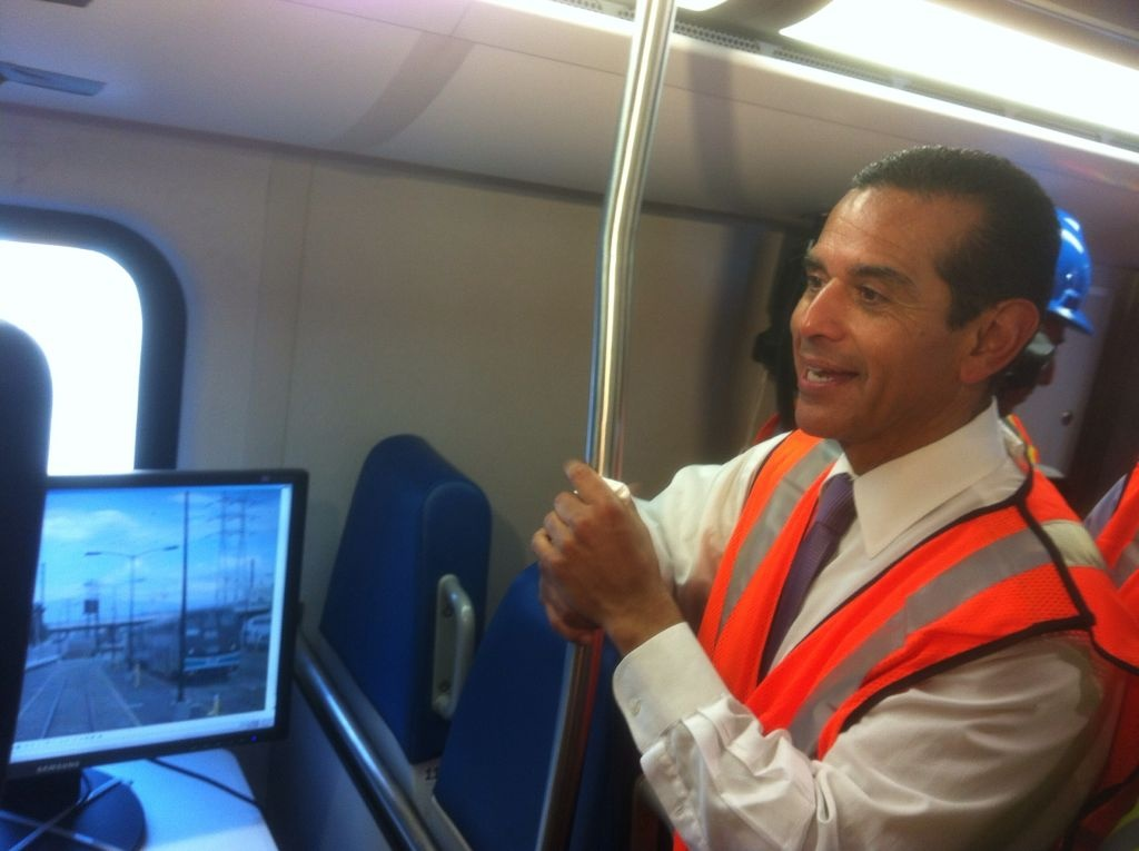 Mayor Antonio Villaraigosa today joined Metrolink officials for a preview of 'Positive Train Control,' a system that will cause trains to automatically brake.